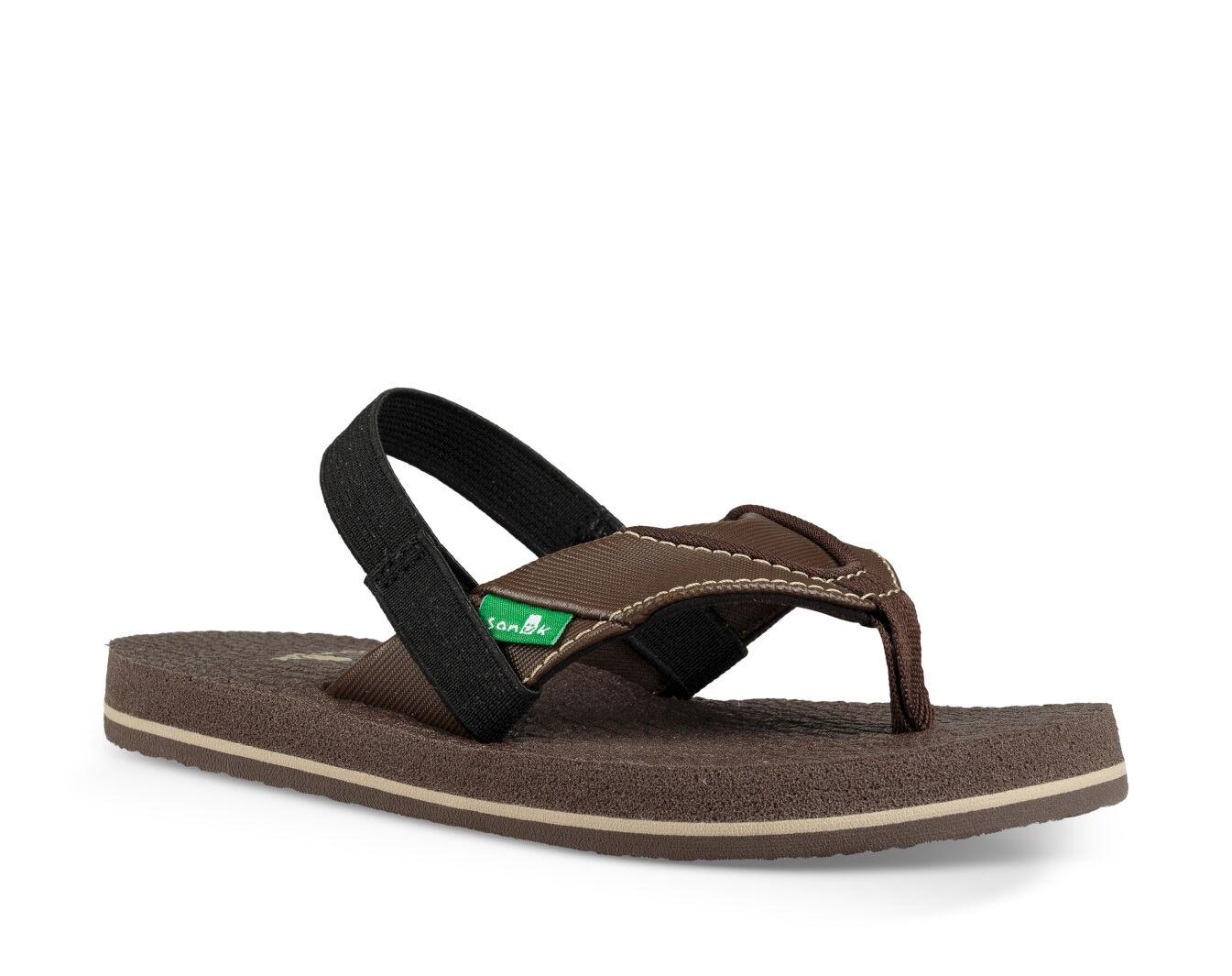 Sanuk Boy/'s Root Beer Cozy Sandal Black New