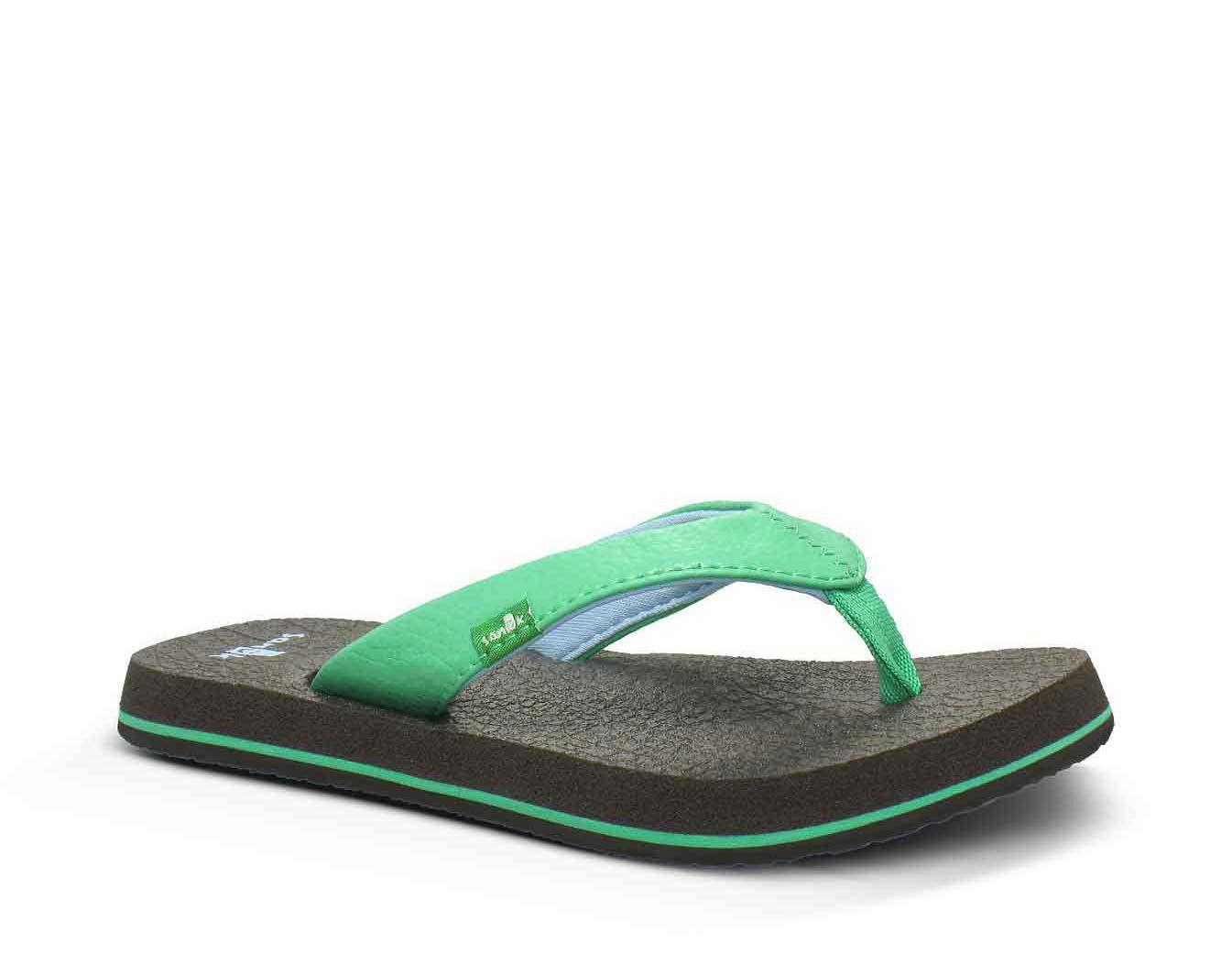 Sanuk Kids Yoga Mat Flip Flop Sandals Black//Pink