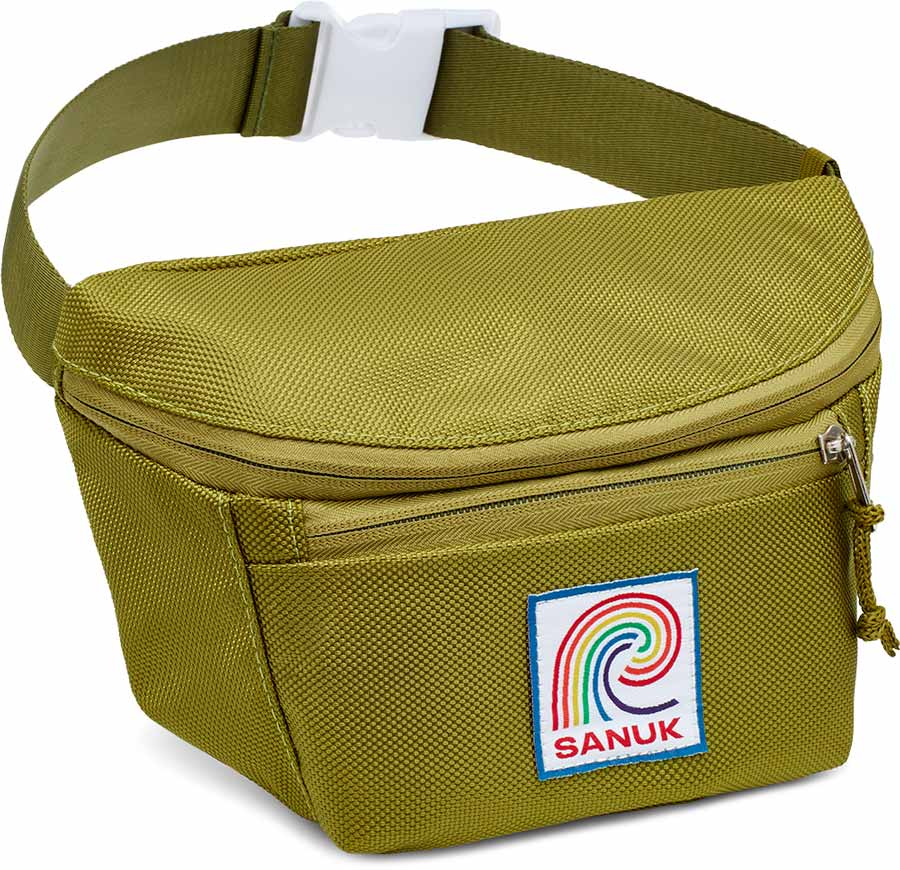 Close up of a green Sanuk Fanny Pack.