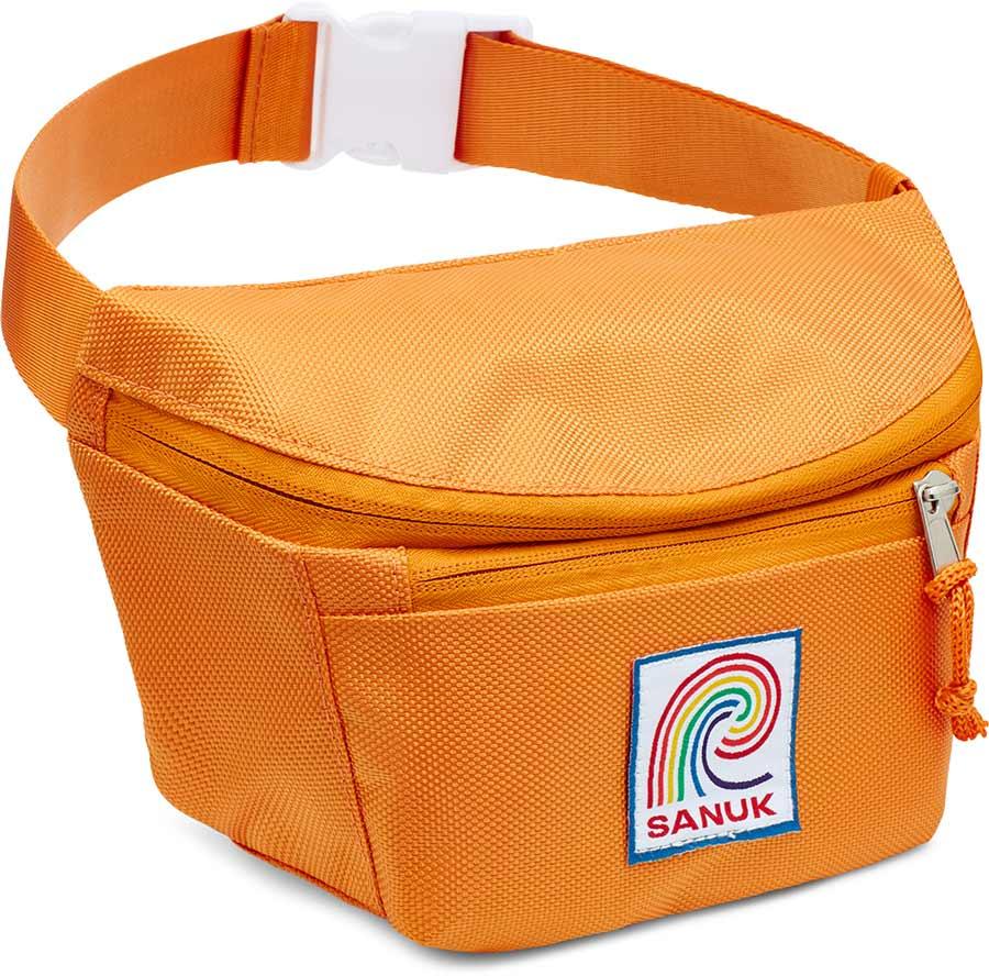 Close up of a orange Sanuk Fanny Pack.