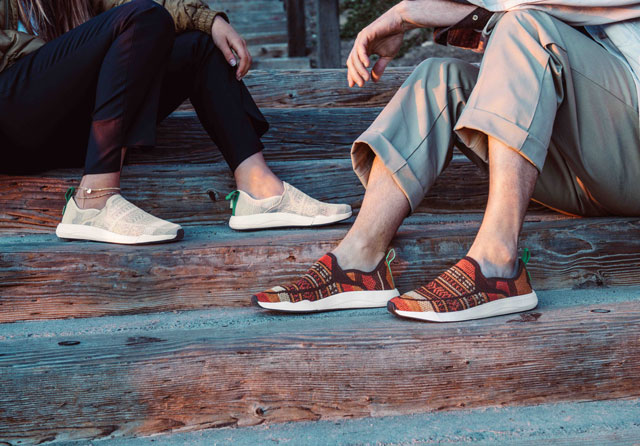 7bb49d5cf749 Man and a Woman wearing the Sanuk Chiba Quest Knit while sitting on a porch.