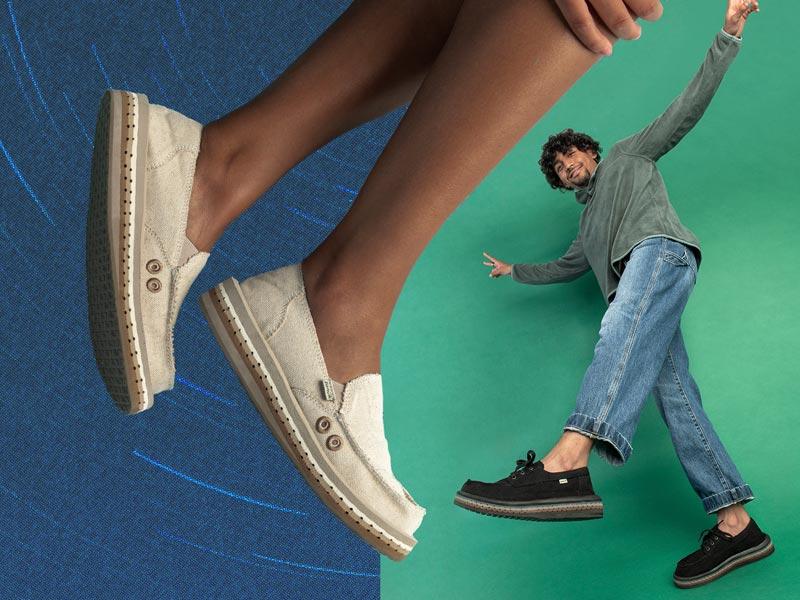 Two people wearing the Sanuk AeroKush shoes.