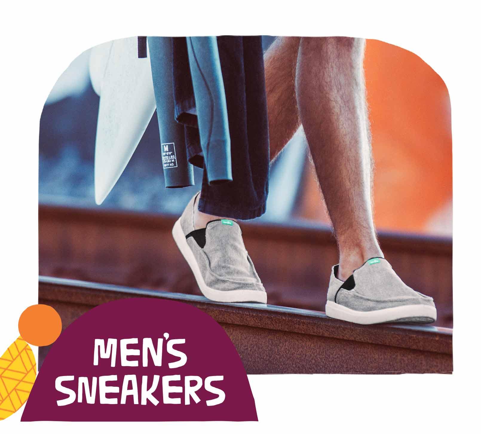 Surfer walking on railroad tracks in Sanuk Sneakers