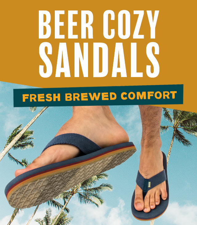 A man walking in Sanuk Beer Cozy Sandals.