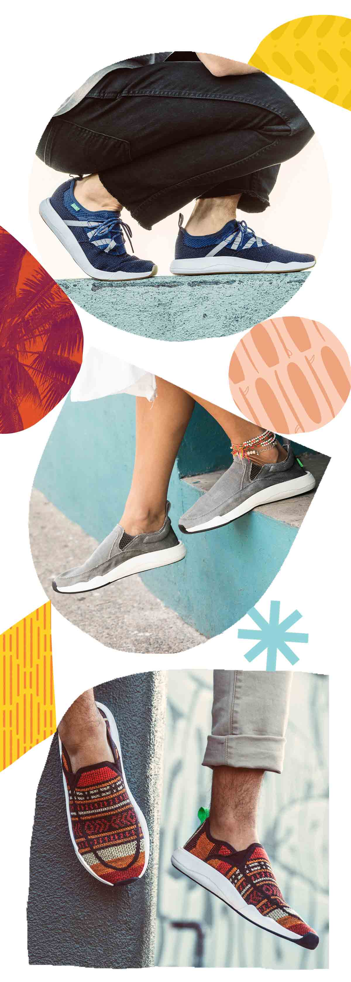Collage of Shapes and feet wearing shoes