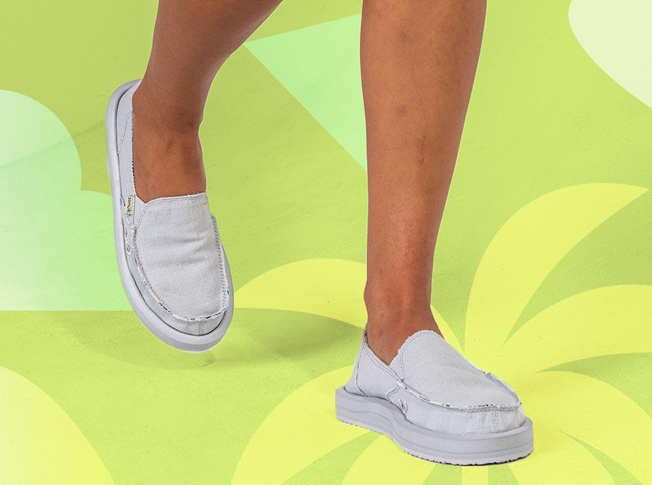 A close up of Sanuk Donna ST Hemp shoes.