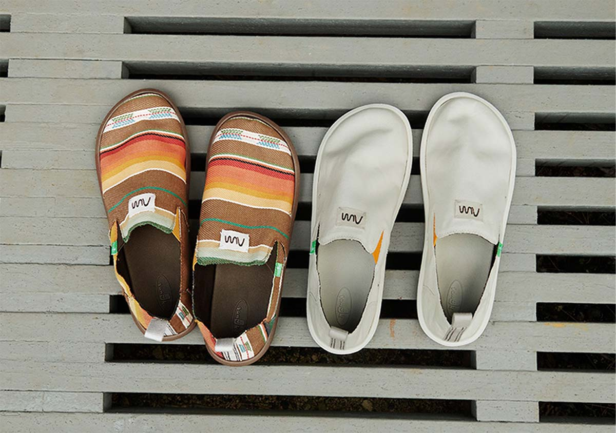 Two pairs of Sanuk x Rick Rubin shoes.