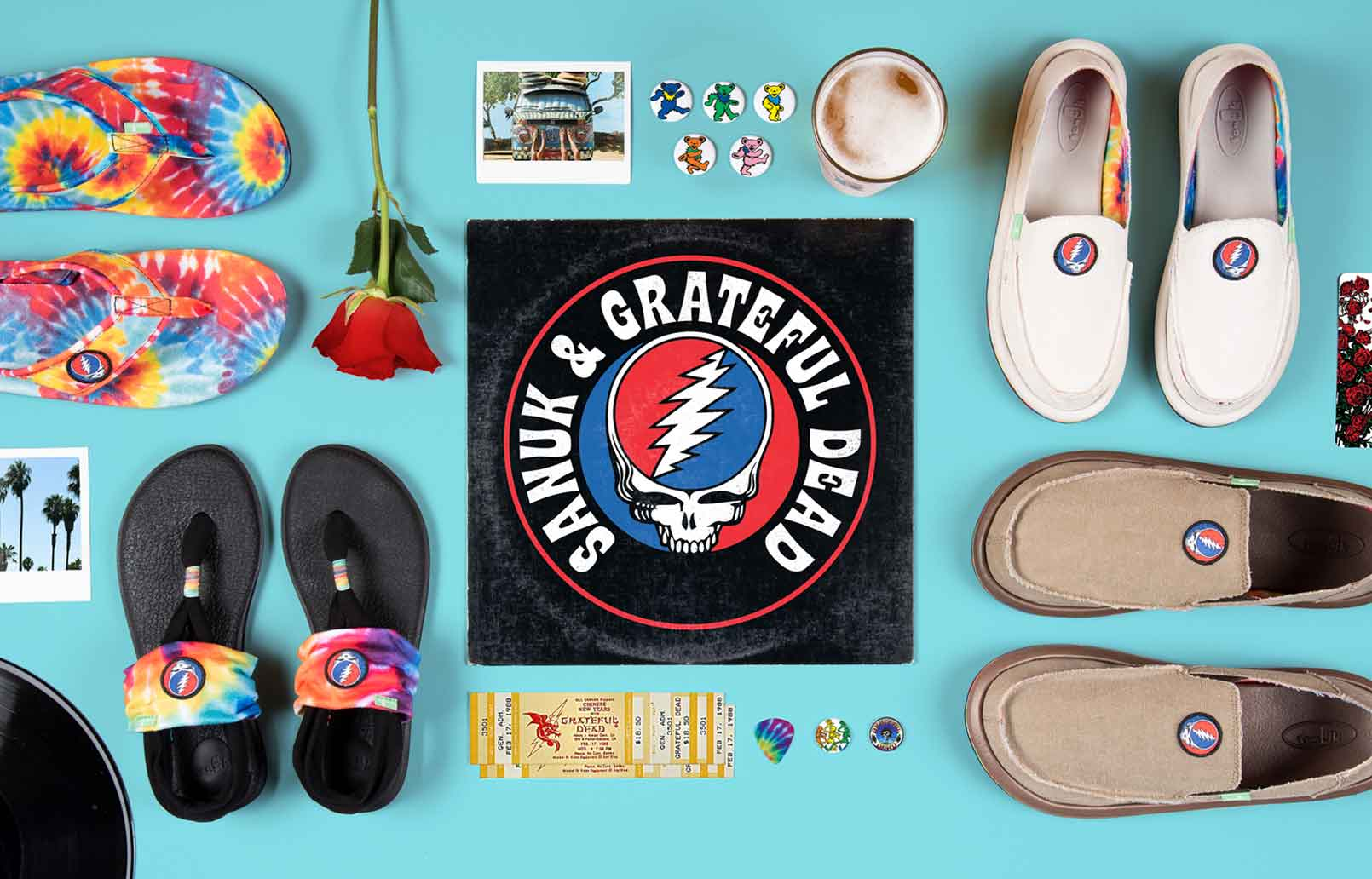 ad4dbf929d3 Grateful dead items on a blue background