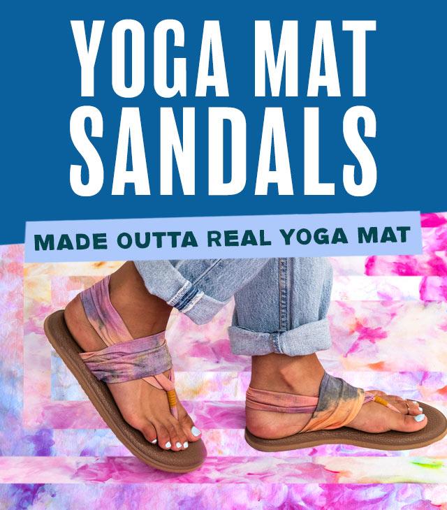 Close up of a woman's feet, wearing Sanuk Flip Flops.