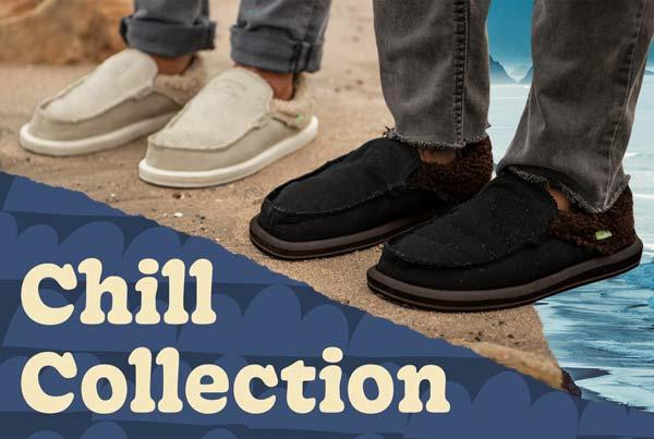 Men and women feet wearing Sanuk shoes.