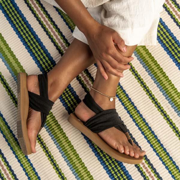 Close up of Sanuk Soft Top Sandals.