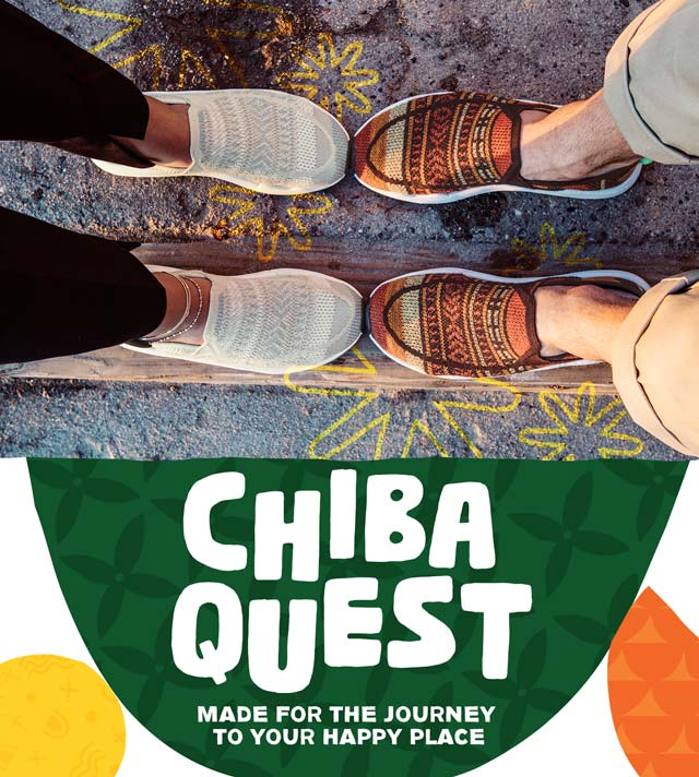 Image of legs, each with their own pair of Chiba Quest shoes