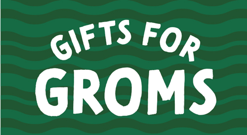 Green icon for gift for groms.