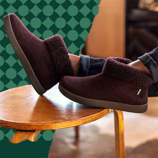 Close up of Sanuk boots.