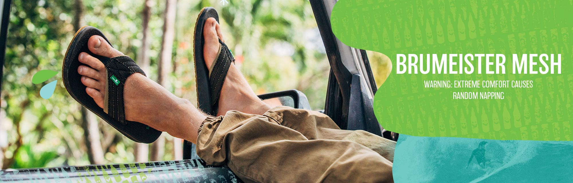 Man wearing Sanuk Brumeister mesh sandals with his feet hanging out of car window.