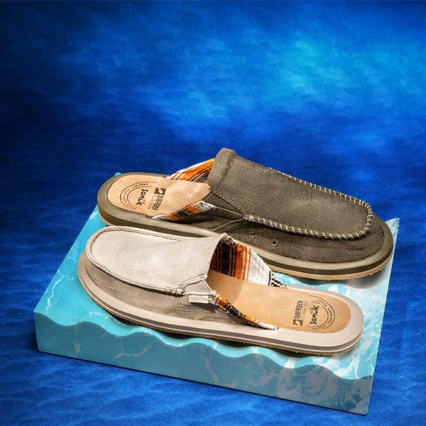 A pair of Sanuk sandals.