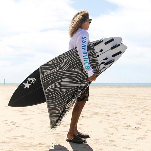 A man, holding a surfboard, standing on a beach.