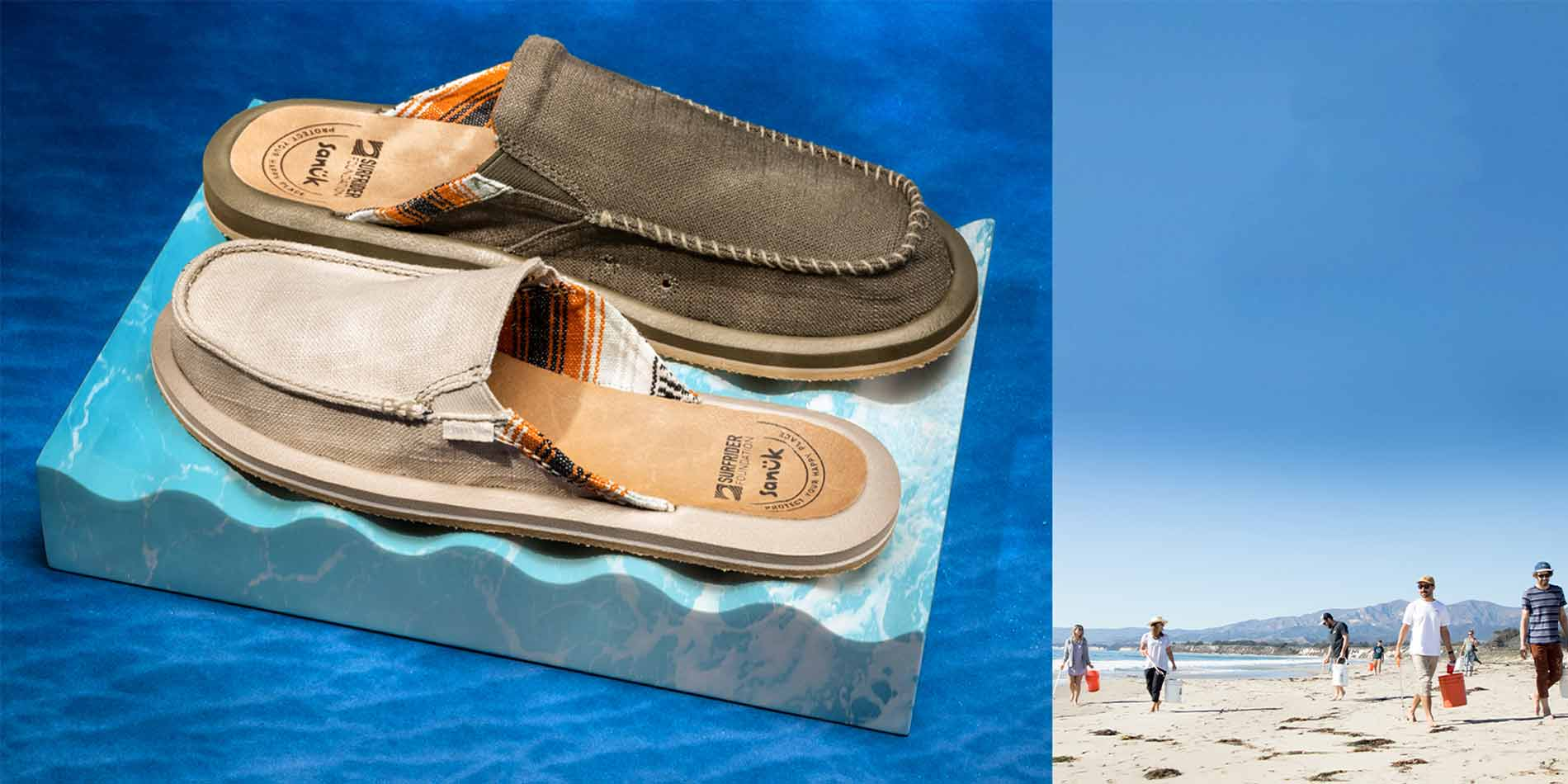 A pair of Sanuk sandals on the left and people walking on a beach on the right.