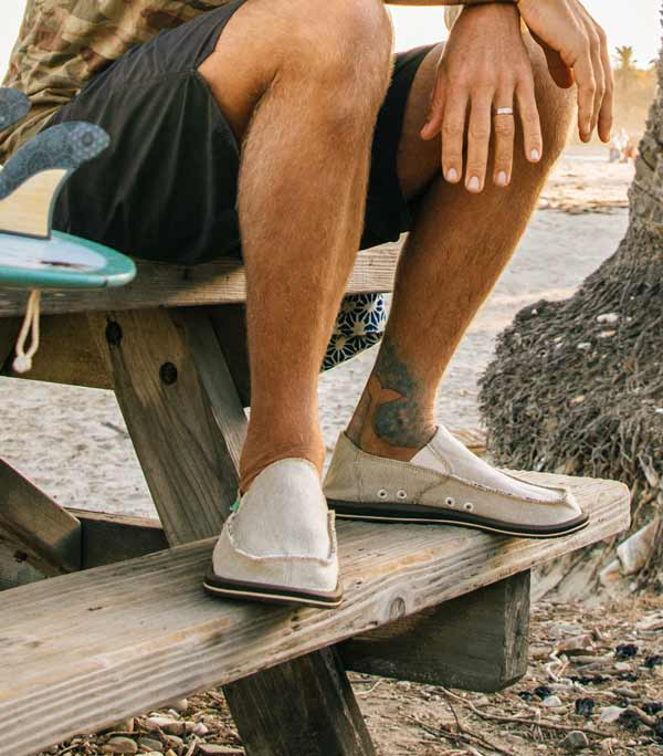 Man sitting on park bench wearing Sanuks.