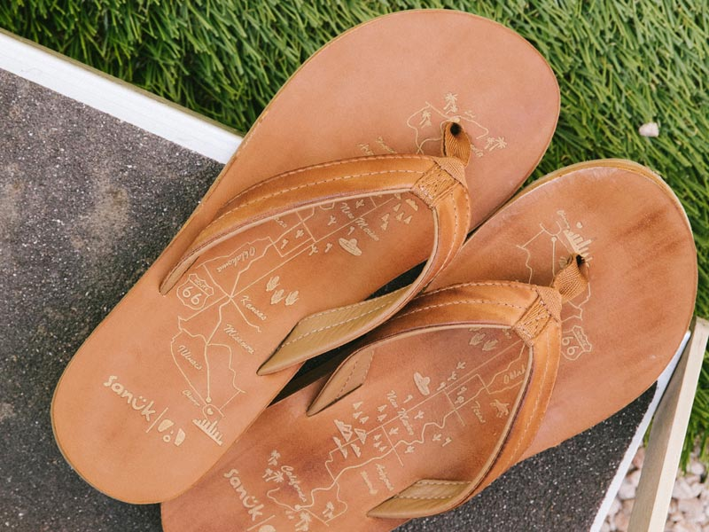 Close of of a pair of Sanuk Sandals.
