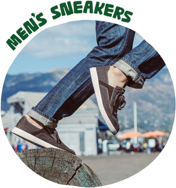 A picture of a man running in Sanuk sneakers