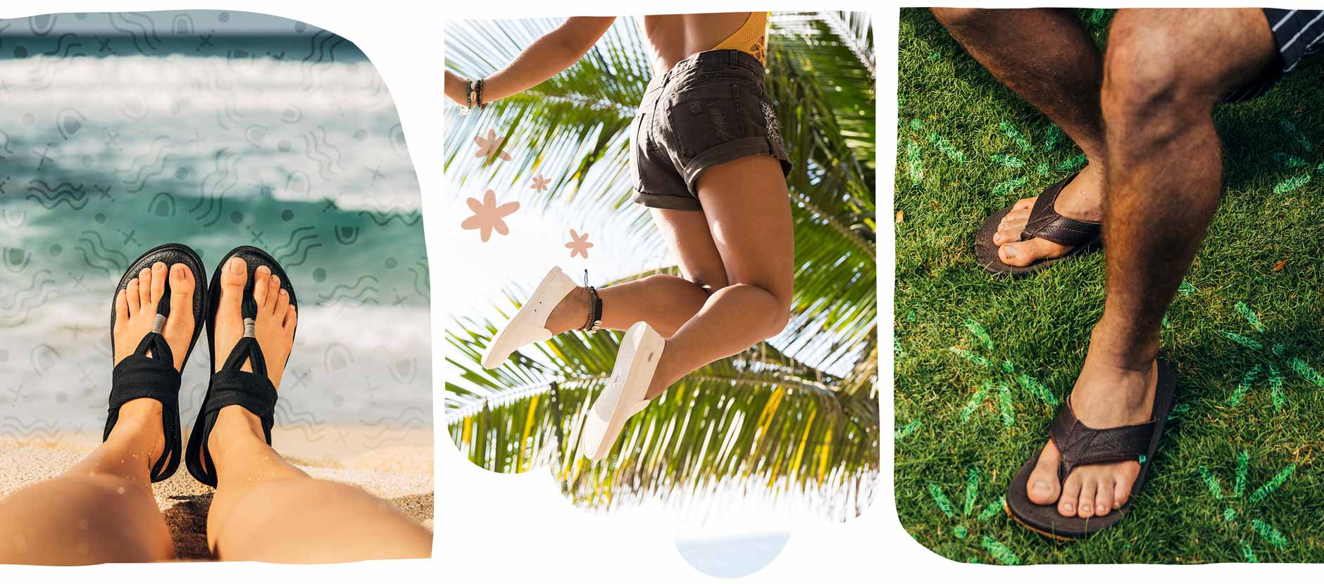 A collage of legs on vacation wearing Sanuk flip flops