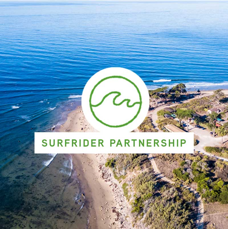 Aerial picture of a coast along the ocean, with a surfrider partnership icon over the top.