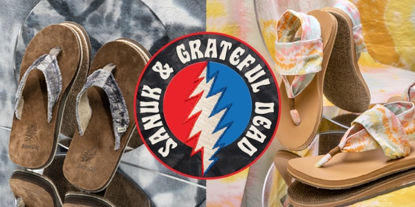 Sanuk and Grateful Dead shoes over colorful, psychadelic patterns.