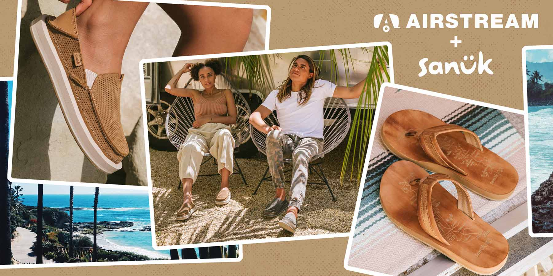A collage of images with Sanuk Sandals.
