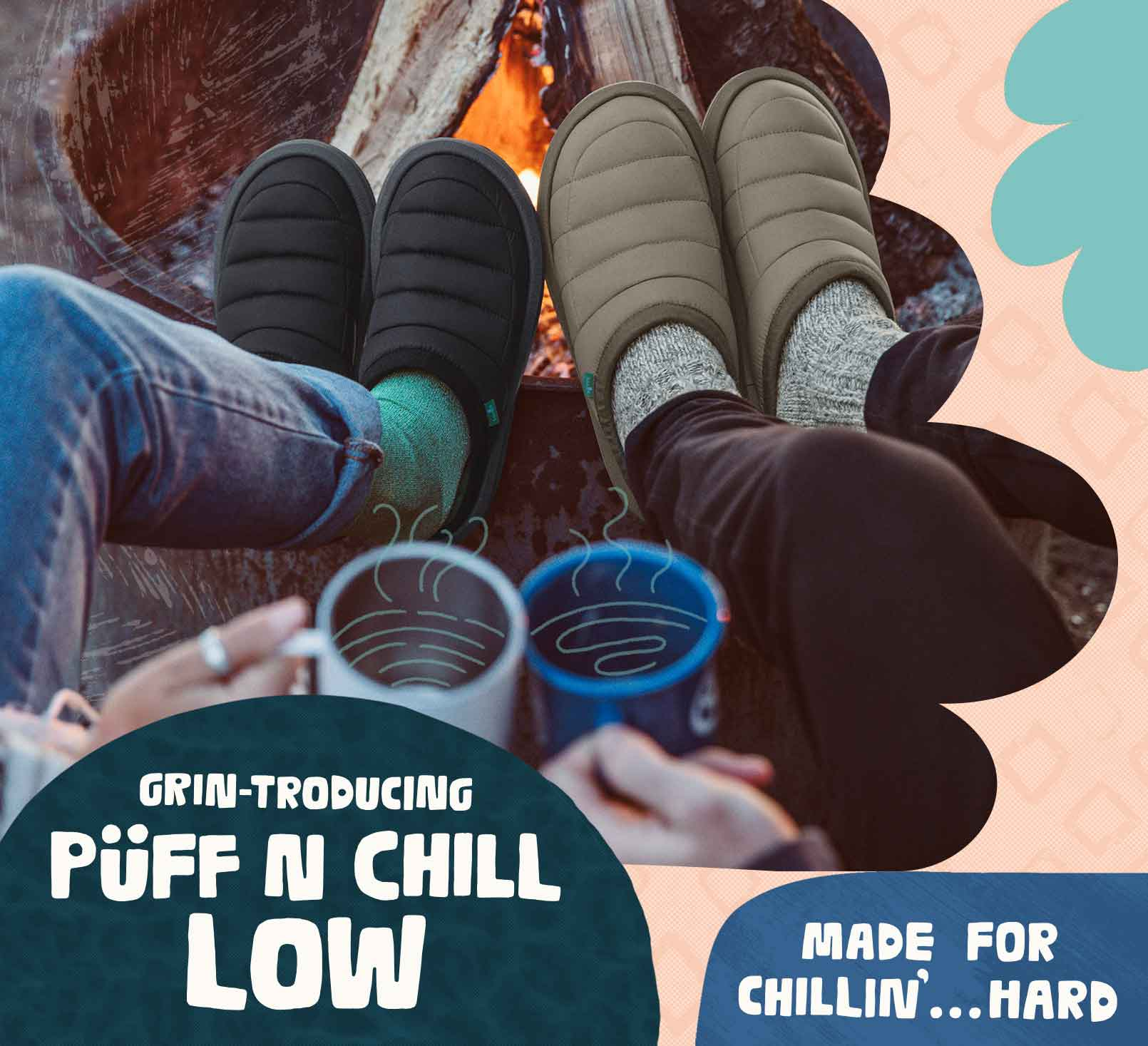Two people roasting their Puff N Chill's by a fire