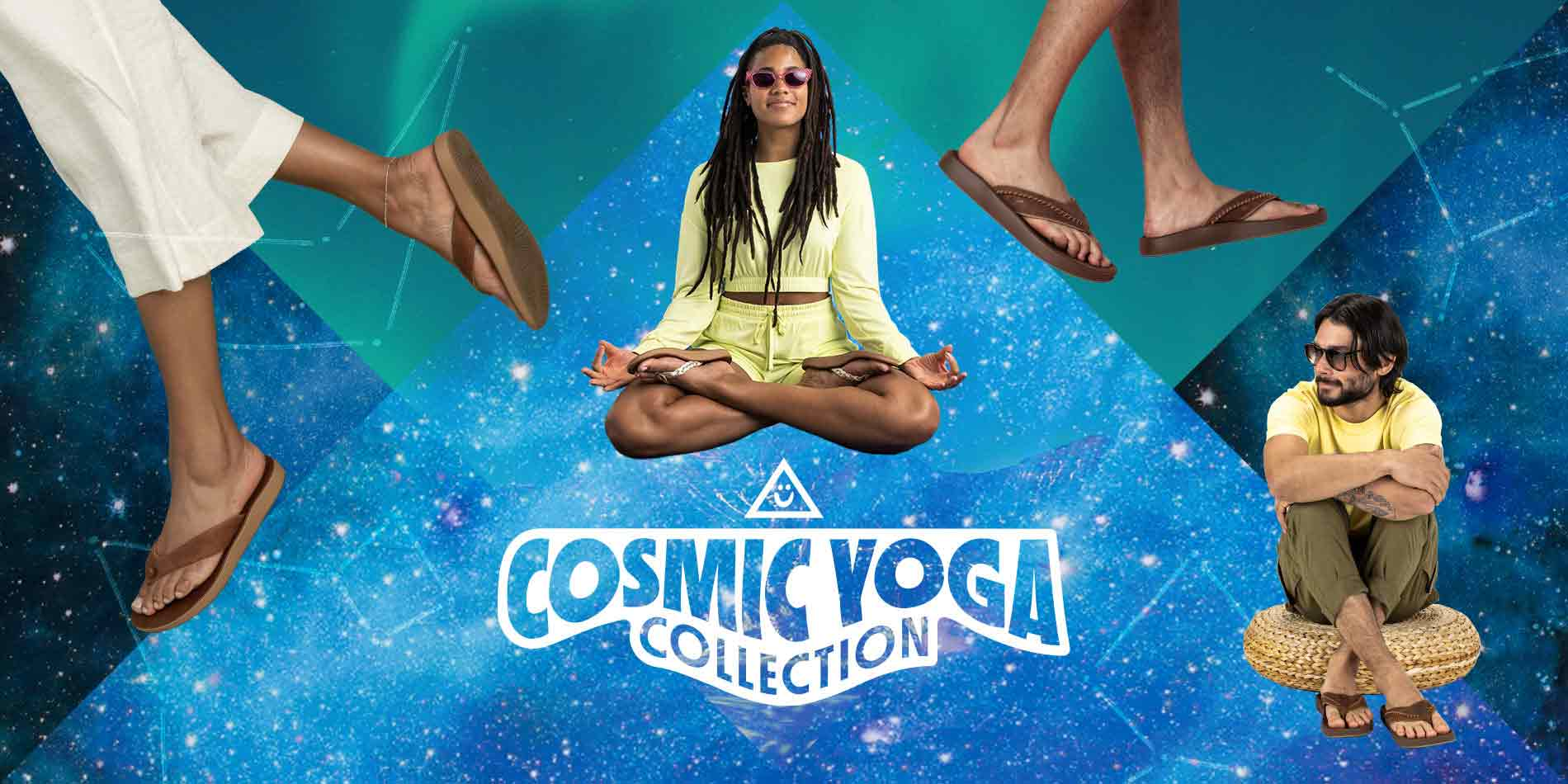 A collage of people, wearing Sanuk Cosmic Yoga Mat Comfort sandals, over space themed, psychadelic patterns.