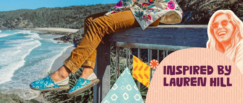 Lauren Hill wearing the Yoga Cruz limited edition print