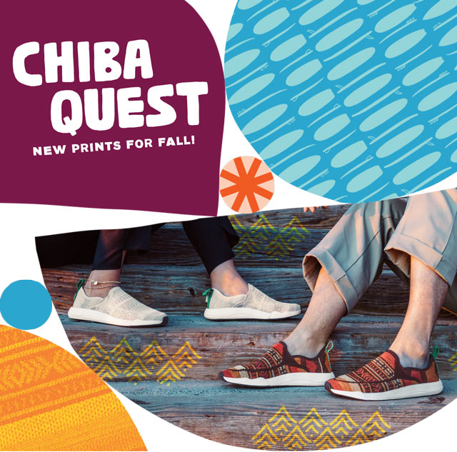 two people wearing the chiba quest on stairs
