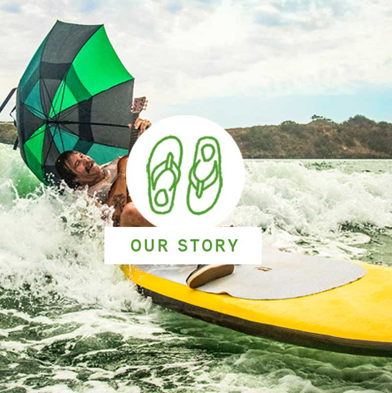 Picture of a guy on a kayak, with an our story icon over the top.