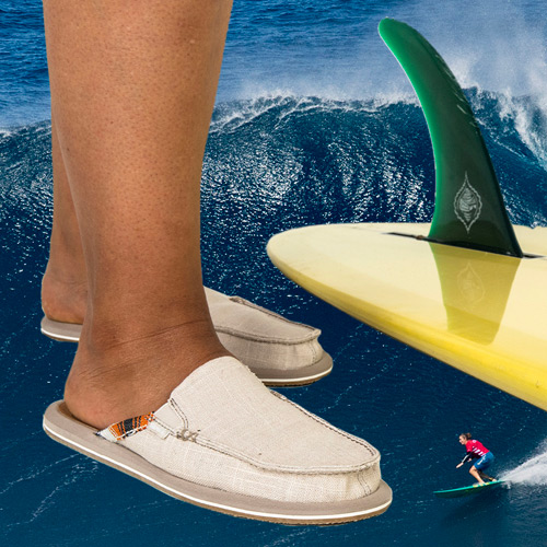Close up of someones feet and the bottom of a surfboard with a large wave in the background.