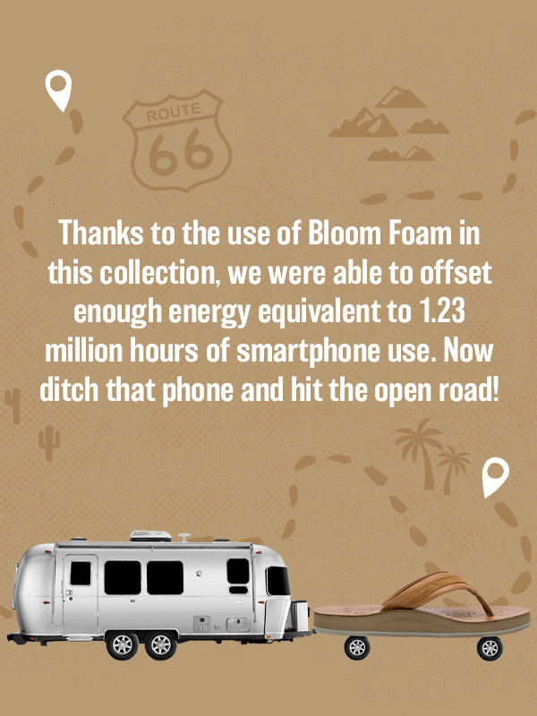 Thanks to the use of Bloom Foam in this collection, we were able to offset enough energy equivalent to 1.23 million hours of smartphone use. Now ditch that phone and hit the open road!