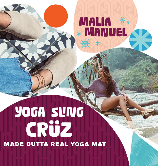 Malia Manuel wearing the Yoga Cruz limited edition print
