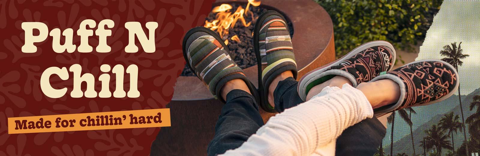 Men and women feet wearing Puff N Chill shoes.